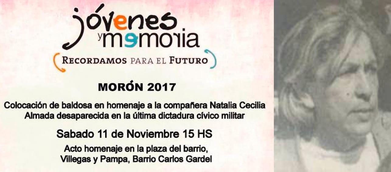 Una baldosa en homenaje a María Cecilia Almada, una militante desaparecida