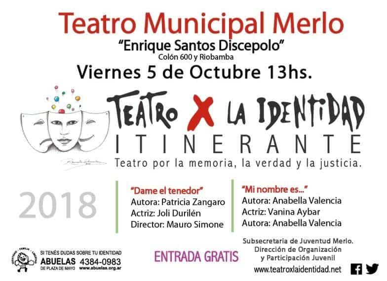 Teatro por la Identidad y Foro de jóvenes en Merlo