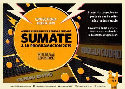 Radio La Ciudad convoca a quienes quieran sumarse a la programación 2019 2